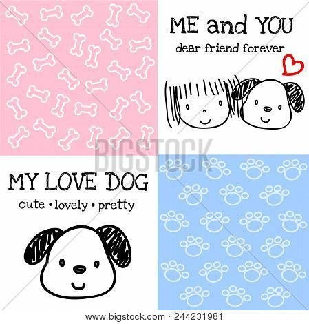 Mini Bone And Spoor Of Dog Pattern  On Blue And Pink Background And Painting Picture Of Dog And Huma