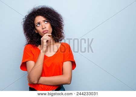 Portrait With Copy Space Empty Place Of Thoughtful Minded Woman With Modern Hairdo Holding Hand On C