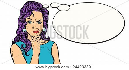 woman skeptical person mimics comic balloon. Pop art retro vector illustration kitsch vintage poster