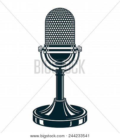 Retro Studio Microphone Vector Illustration. Stand Up Live Show Concept, Public Relations.