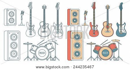 Musical Instruments - Electric And Acoustic Guitars, Bass, Drum Set And Speakers. Contour Illustrati