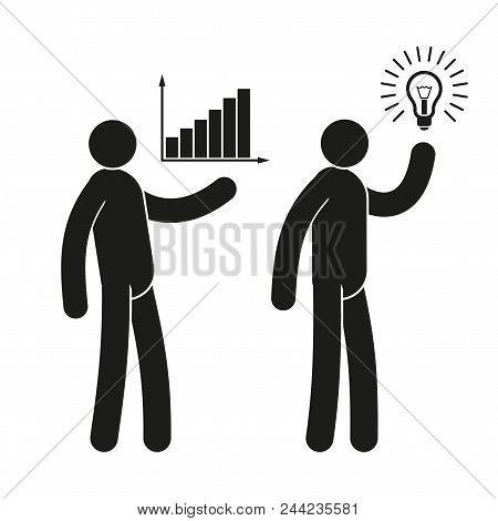 Business People  Icons With Growth Chart And  Light Bulb Idea