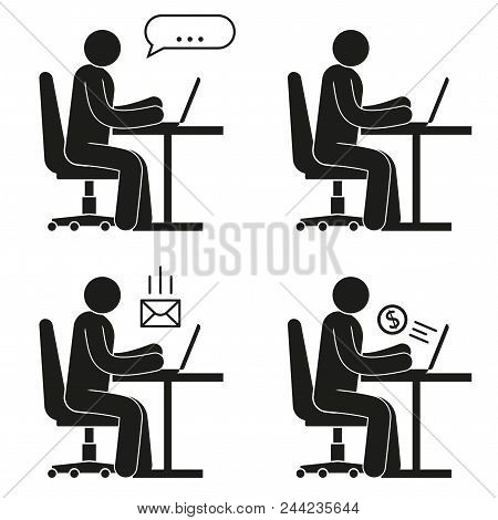 Icon Of People Sitting On Office Chair At Desk With Laptop. Pictogram Man - Online Chat, Earnings On