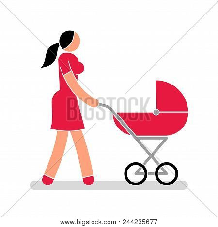 Color Pictogram People. Woman Young Mom In Red Dress With Baby Carriage Walking.