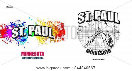 Saint Paul, Minnesota, Logo Design. Two In One Vector Arts. Big Logo With Vintage Letters With Nice