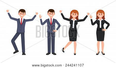 Very Happy Businessman And Businesswoman Cartoon Character. Vector Illustration Of Smiling Male And