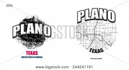 Plano, Texas, Logo Design. Two In One Vector Arts. Big Logo With Vintage Letters With Nice Colored B