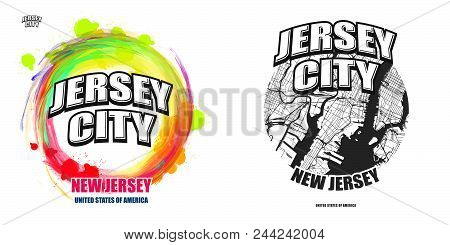 Jersey City, New Jersey, Logo Design. Two In One Vector Arts. Big Logo With Vintage Letters With Nic