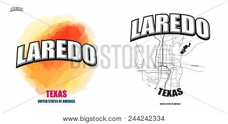 Laredo, Texas, Logo Design. Two In One Vector Arts. Big Logo With Vintage Letters With Nice Colored