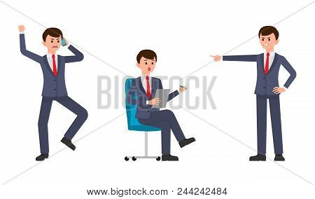 Angry Man In Dark Blue Business Suit Shouting On Smartphone, Pointing Finger. Surprised Man Sitting