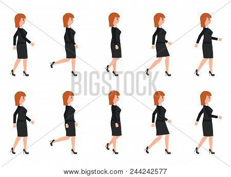 Young Woman In Black Suit Walking Sequence. Vector Illustration Of Moving Cartoon Character Person