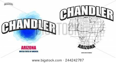 Chandler, Arizona, Logo Design. Two In One Vector Arts. Big Logo With Vintage Letters With Nice Colo