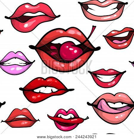 Female Lips Seamless Pattern. Mouth With Cherry Pepper Biting, Smile, Tongue, Teeth On White Bakgrou