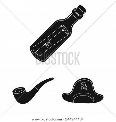 Pirate, Sea Robber Black Icons In Set Collection For Design. Treasures, Attributes Vector Symbol Sto