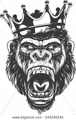 Vector Illustration, Ferocious Gorilla Head On With Crown,king Of Monkeys, On White Background