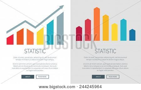 Statistic Colorful Charts On Promo Internet Banners Set. Visualization Of Statistical Data In Form O