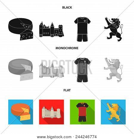 Cheese, Lion And Other Symbols Of The Country.belgium Set Collection Icons In Black, Flat, Monochrom