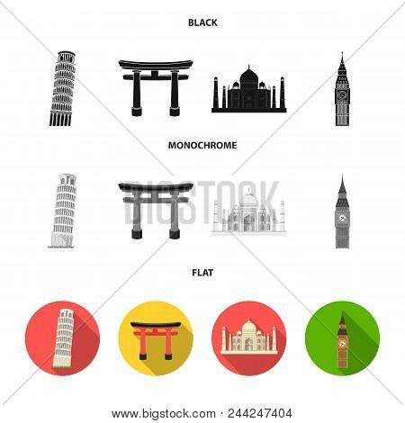 Sights Of Different Countries Black, Flat, Monochrome Icons In Set Collection For Design. Famous Bui