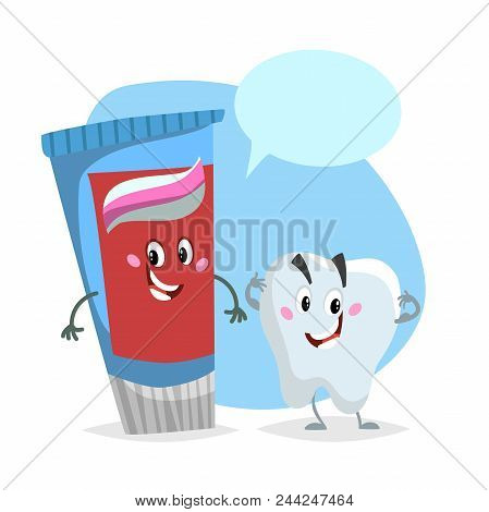 Cartoon Dental Care Characters. Smiling Healthy Strong Tooth And Blue Toothpaste Tube. Healthcare Ki