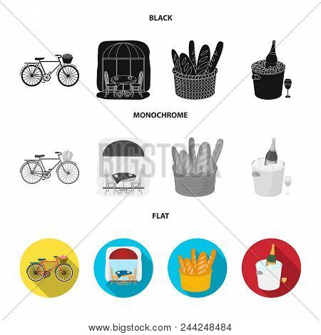 Bicycle, Transport, Vehicle, Cafe .france Country Set Collection Icons In Black, Flat, Monochrome St