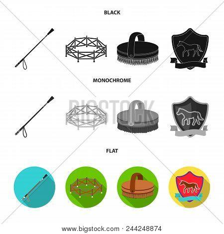 Aviary, Whip, Emblem, Hippodrome .hippodrome And Horse Set Collection Icons In Black, Flat, Monochro