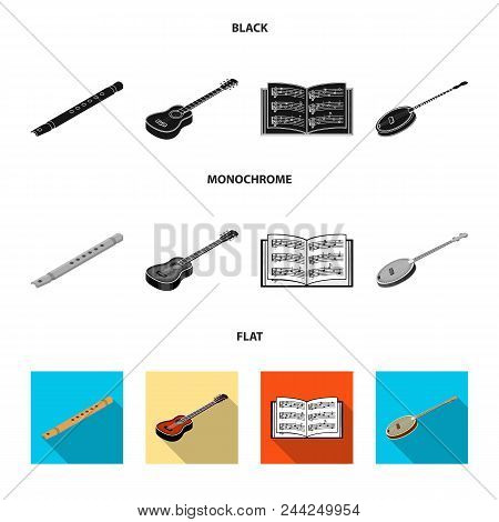 Musical Instrument Black, Flat, Monochrome Icons In Set Collection For Design. String And Wind Instr