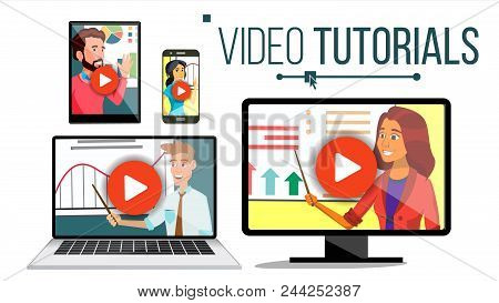 Video Tutorial Vector. Streaming Application. Online Education. Broadcasting. Conference Or Webinar.