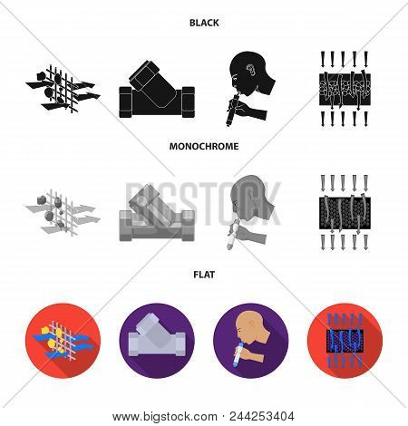 System, Balloon, Hand, Trial .water Filtration System Set Collection Icons In Black, Flat, Monochrom