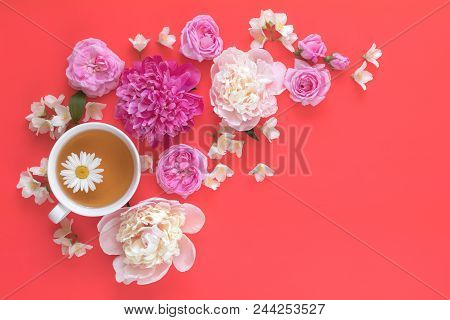 Cup Of Tea With White And Pink Peonies, Jasmine, Daisy And Pink Roses Flower Bouquet On Pink Red Bac
