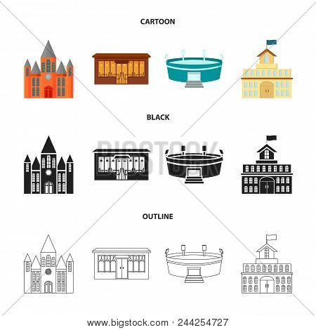 House Of Government, Stadium, Cafe, Church.building Set Collection Icons In Cartoon, Black, Outline