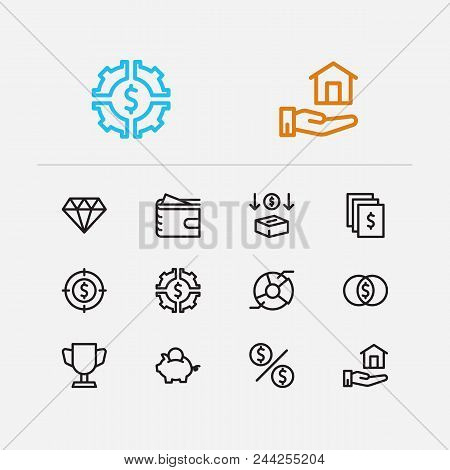 Investment Icons Set. Investment Target And Investment Icons With Investing Diversification, Investm