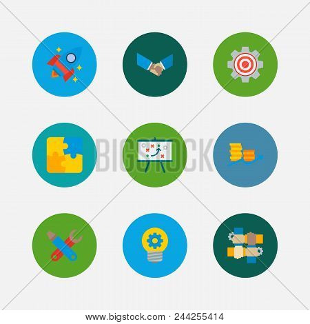 Technology Cooperation Icons Set. Handshake And Technology Cooperation Icons With Finance, Partnersh