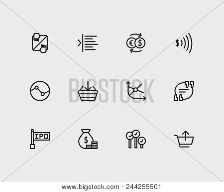 Finance Trading Icons Set. Yield And Finance Trading Icons With Going Long, Exchange And Bid-ask Spr