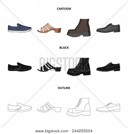 A Set Of Icons On A Variety Of Shoes.different Shoes Single Icon In Cartoon, Black, Outline Style Ve