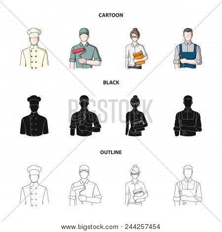 Cook, Painter, Teacher, Locksmith Mechanic.profession Set Collection Icons In Cartoon, Black, Outlin