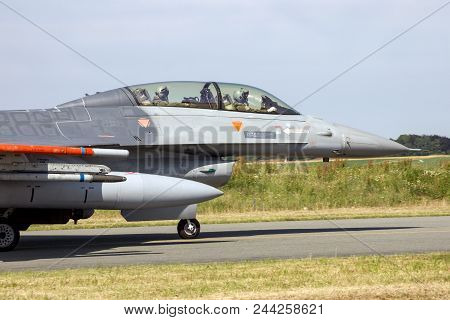 Air Force Fighter Jet Aircraft Taxiing Towards The Runway Of Florennes Airbase.
