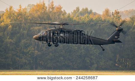 Eindhoven, The Netherlands - Oct 25, 2017: United States Army Sikorsky Uh-60 Blackhawk Transport Hel