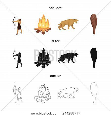 Man, Hunter, Onion, Bonfire .stone Age Set Collection Icons In Cartoon, Black, Outline Style Vector
