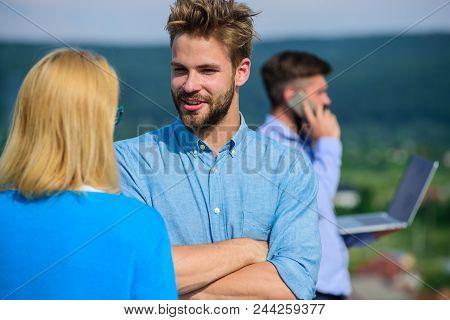 Couple Having Fun While Busy Businessman Speak On Phone. Flirt And Love Affair Concept. Husband Losi