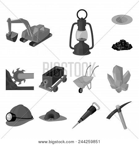 Mining Industry Monochrome Icons In Set Collection For Design. Equipment And Tools Vector Symbol Sto