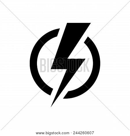 Lightning Bolt Icon In Flat Style. Electric Power Symbol Isolated On White Background. Simple Power