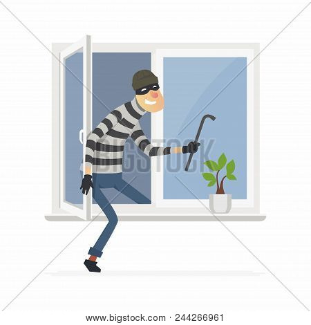Burglar - Cartoon People Characters Illustration Isolated On White Background. An Image Of A Housebr