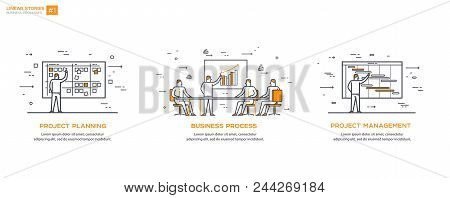 Linear Flat Design, Thin Line Vector Illustration. Business Processes And Team Concept. Management,