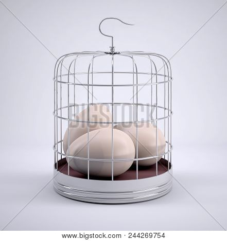 Bird Cage With Three Eggs Inside, 3d Illustration