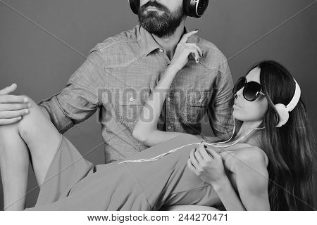 Girl Is Listening To Music. Pleasure, Music And Fun Creative Lifestyle Concept. Music Fans With Seri