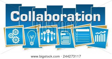 Collaboration Text Written Over Blue Background With Related Symbols.