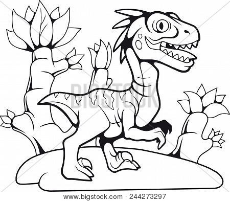 Cartoon Funny Prehistoric Velociraptor, Contour Drawing, Coloring Book