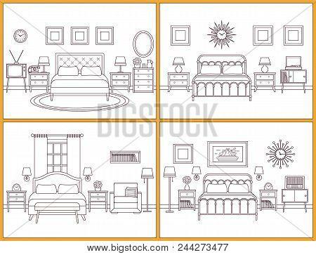 Bedroom Interior. Hotel Room In Retro Design. Vector Illustratio