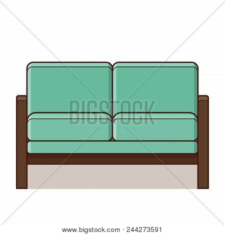 Couch Icon In Flat Design. Vector Illustration. Retro Style.