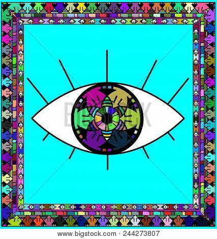 Abstract Colored Background Image Of Frame Consisting Of Lines And Figures And Large Abstract Eye
